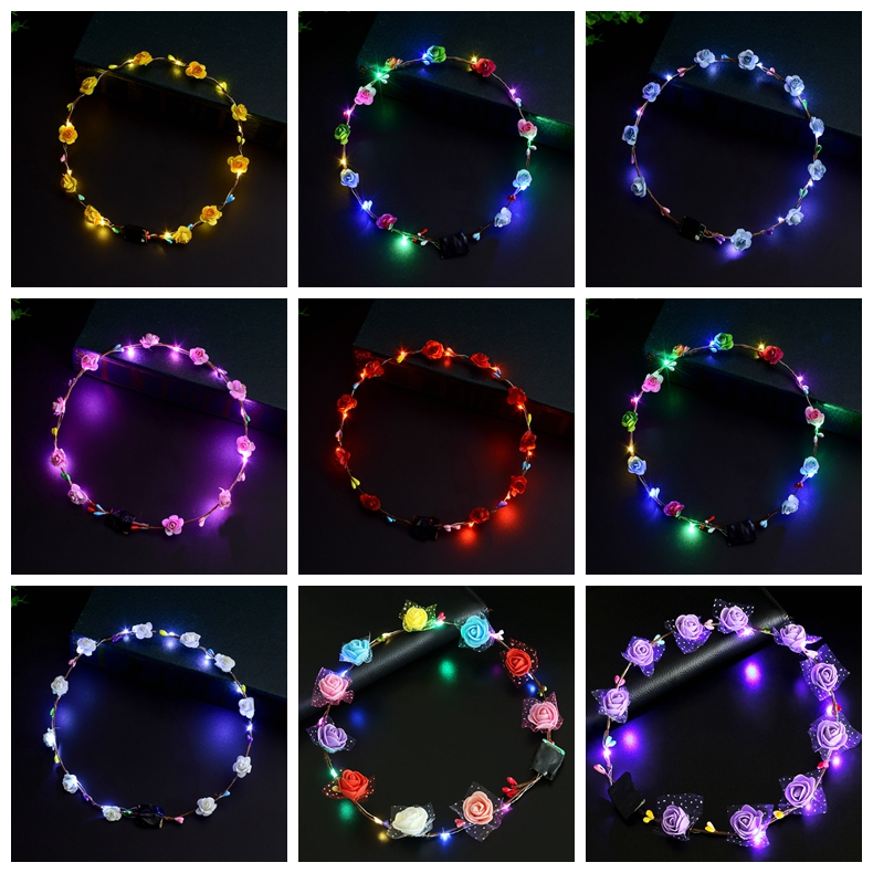 Flashing LED Hairbands strings Glow Flower Crown Headbands Light Party Rave Floral Hair Garland Luminous Decorative Wreath GGA1276