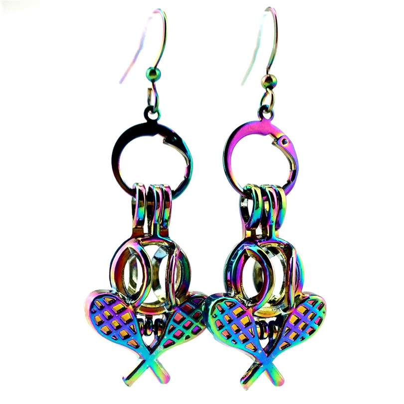 Rainbow Color Moon Pearl Cage Earrings Hooks with 8mm Plastic Beads //Z299