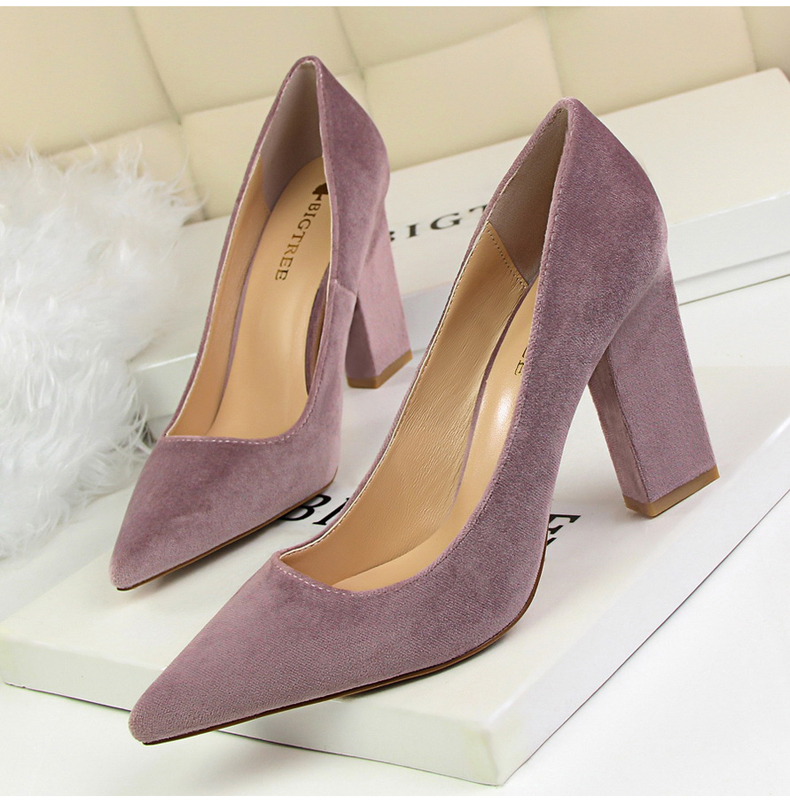 Women\`s Pumps Shoe Slip-On Wedding Women Shoes High Heels Sandals Silver Office Lady Shoes Woman High Heel Mules Square Heels (2)