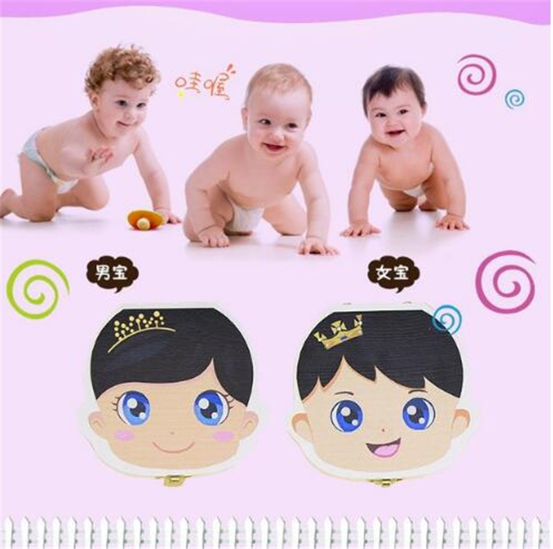 Colorido Pintura Do Bebê Caixa De Dente De Armazenamento para Crianças Salvar Leite Dentes Meninos Meninas Imagem Organizador De Madeira Deciduous Dentes Caixas Criativas