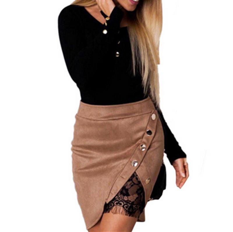 Neue Art und Weise Frauen-Damen-hohe Taillen-Bleistift-Röcke knöpfen Spitzepatchwork-reizvolle Bodycon Wildleder-Lederspalte Partei beiläufiger Minirock Y1890305