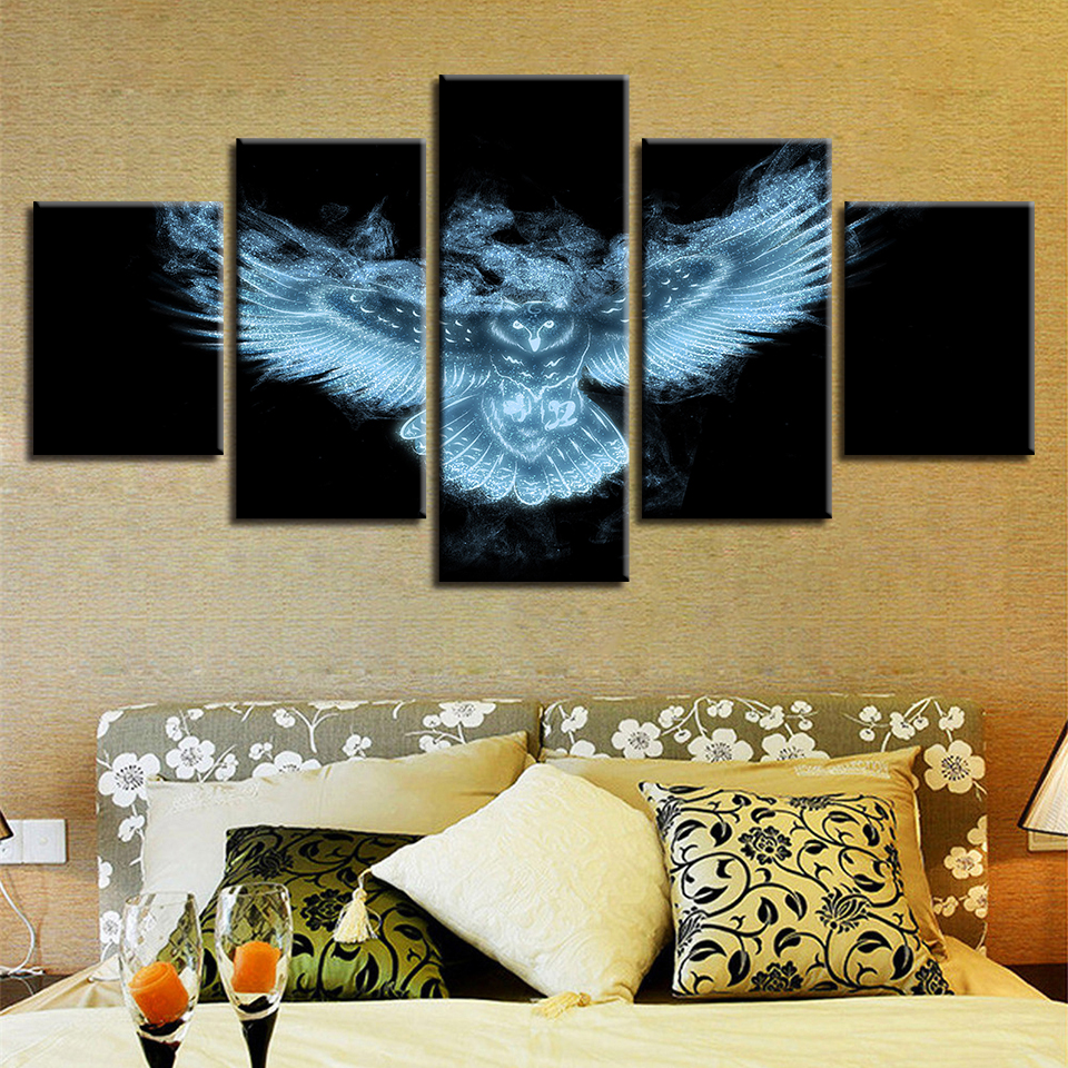 Acheter Mur Modulaire Impression Art Peinture Abstraite 5 Pièces Lumineux Animal Hibou Vue De Nuit Toile Images Affiche Salon Chambre Cadre De 9 3 Du
