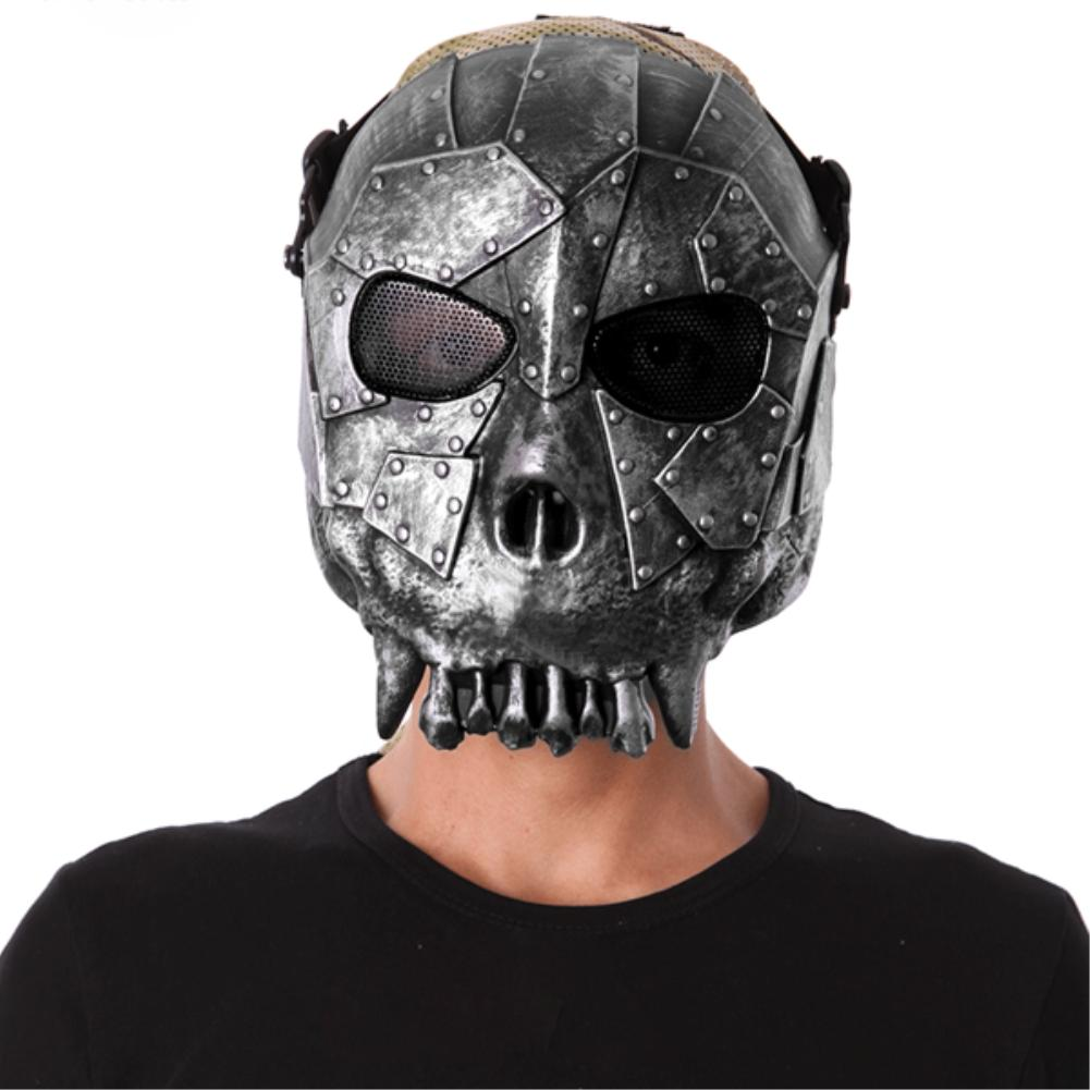Plastic Skull Airsoft Party Mask Paintball Full Face Mask Army Games Mesh Eye Shield Mask for Halloween Cosplay Party Decor