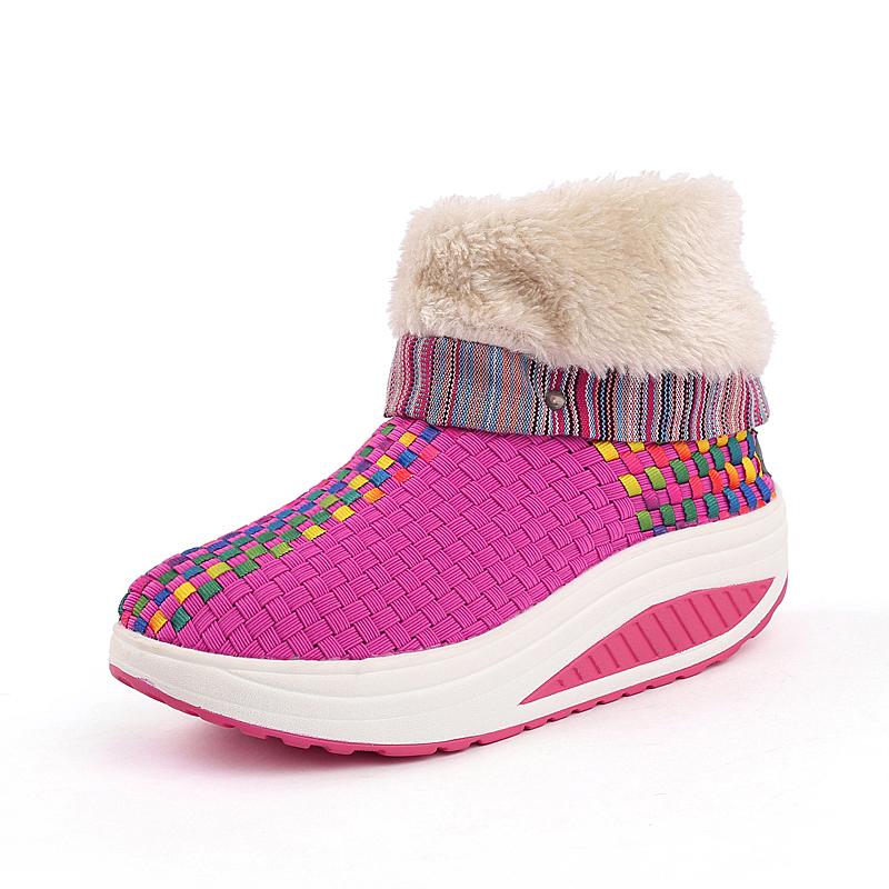 Atacado Inverno Mulheres De Pelúcia Botas Handmade Tecido Elástico Mais Largo Confortável Botas de Inverno Cunhas Moda Novo Design Sapatos Saudáveis