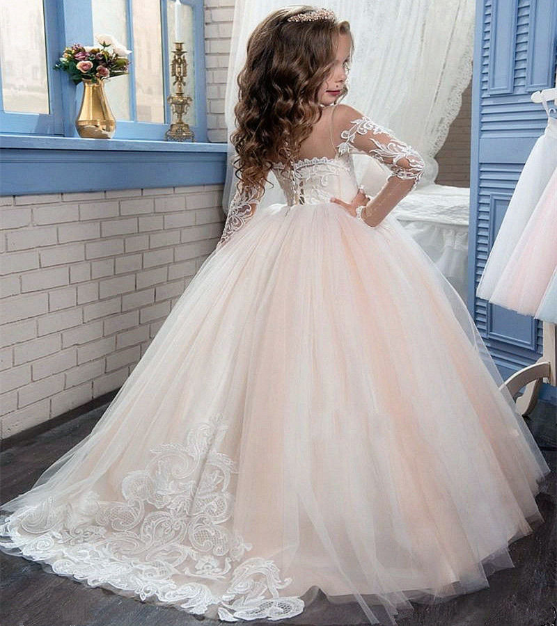 Pageant Cute Long Sleeve Red Princess Gown Lace Flower Girl Dresses For Prom Lolita Floor Length Hand Made Kids Party Birthday Dress