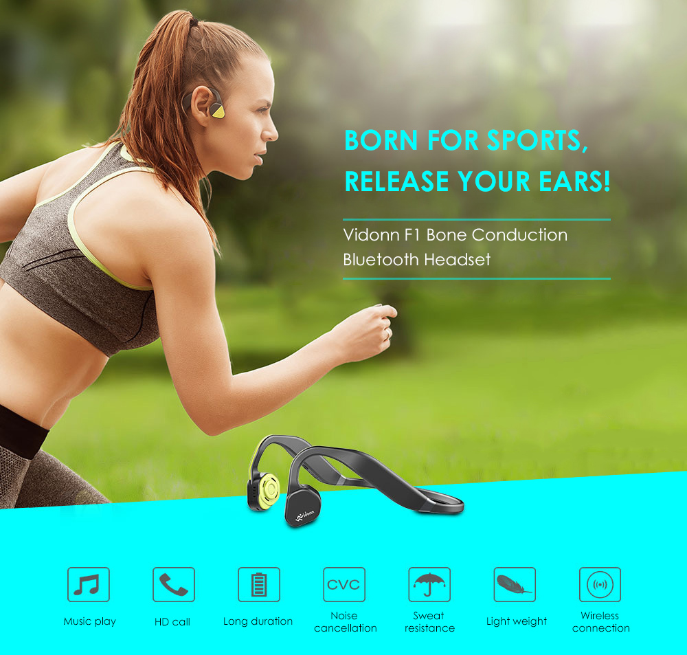 Vidonn F1 Wireless Bone Conduction Bluetooth Headset