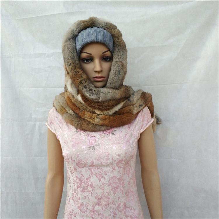 knitted rex rabbit fur scarf for women winter (5)
