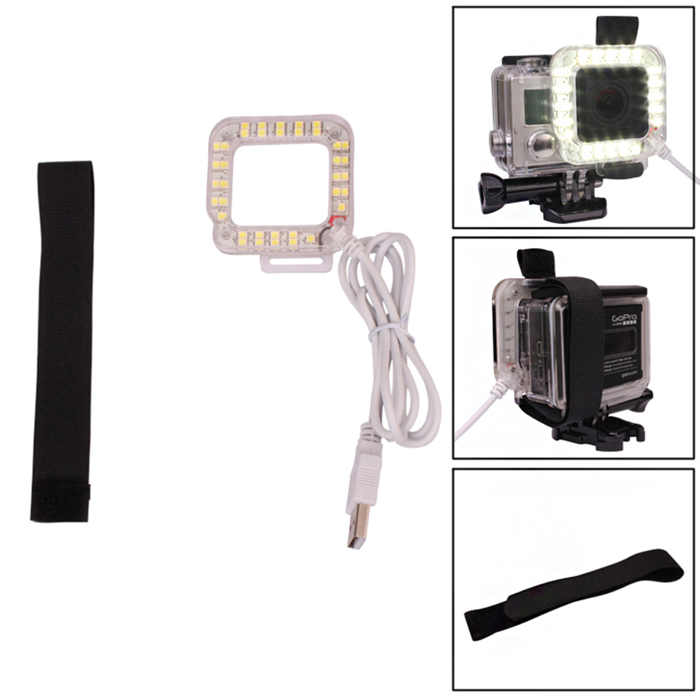 USB 20 LED Action Camera Lens Ring Shooting Nightshot Flash Fill Light Lamp for GoPro Hero 4 3+ 3 Waterproof Housing Case