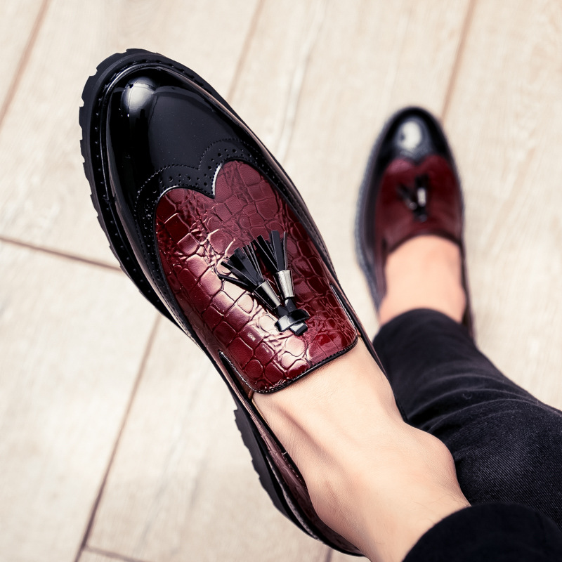 Men Lace Up Brogue Carved Platform Wedding Casual Shoes Shiny Black Leather Chic