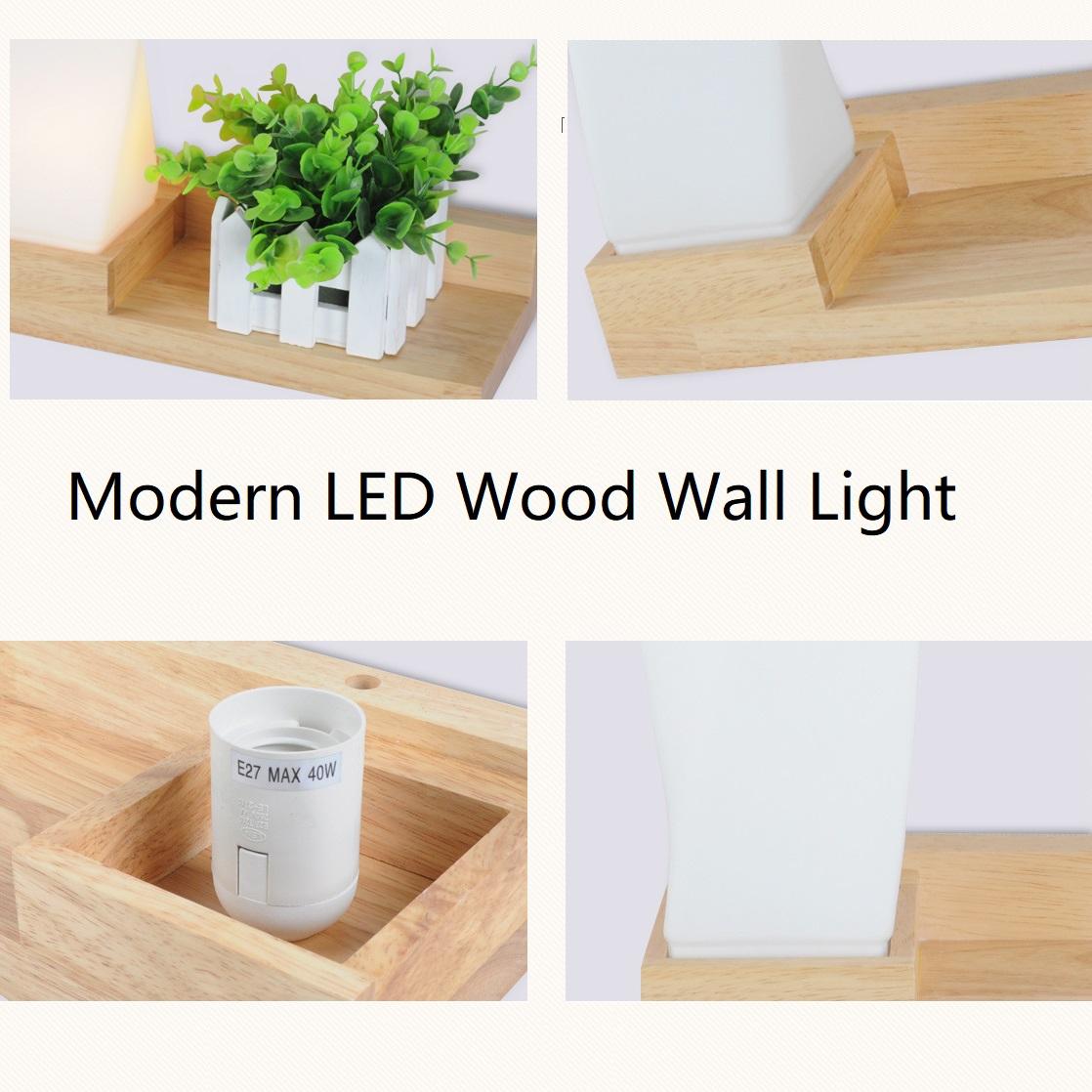 Style moderne En Bois LED Lampe De Chambre Lit De Chevet Mur Lumière Naturel En Bois Massif + Verre Givré Foyer Maison Décoration En Gros Dropship