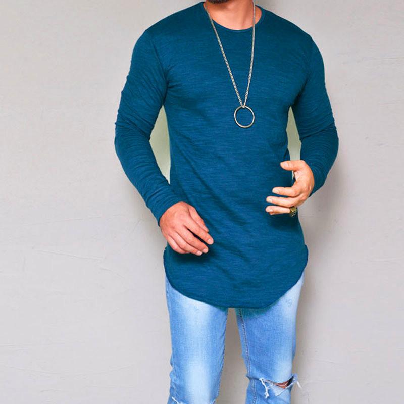 24274a77f Compre Moda Para Hombre Camisas Cuello Redondo Camiseta Manga Larga Color  Sólido Tamaño S XXL Casual Cómodo Ropa Para Hombres Camisetas De ...