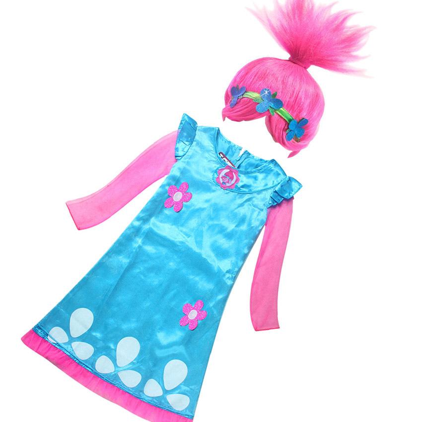 Girls Trolls Poppy Costume Dress Halloween Cosplay Wig Long Sleeve Party Dress