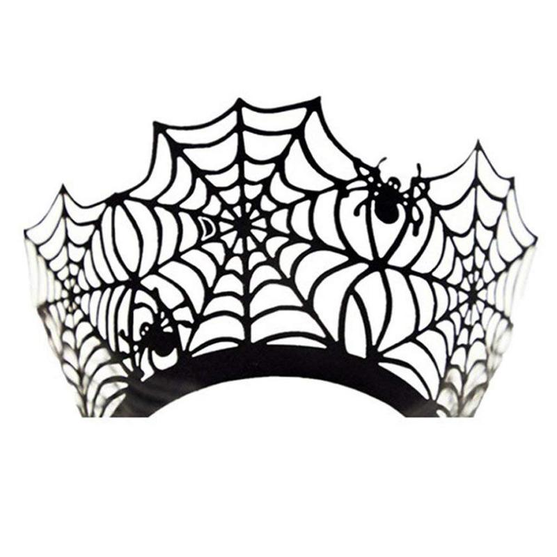 Halloween Decoration Paper Cupcake Wrapper Spider Web Cupcake Toppers Kids Favors Party Cake Topper Halloween FES9135