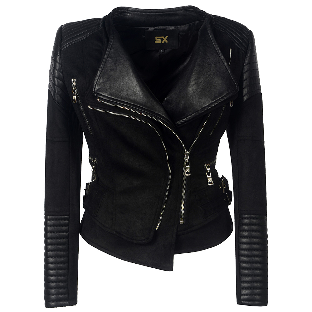 Chamois Gothic faux leather PU Jacket Women Winter Autumn Fashion Motorcycle Jacket Black faux leather Coat Outerwear 2018