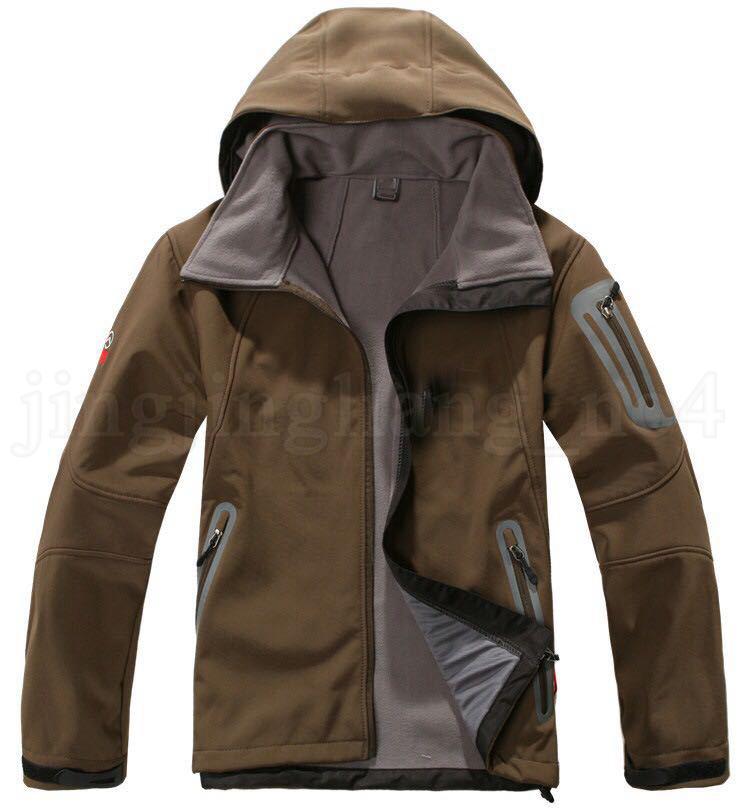 Hommes Veste D'hiver En Plein Air Sportswear 5 Couleurs Windbraker Imperméable À L'eau Visage À Capuche Manteau Softshell Polaire Vestes OOA5770