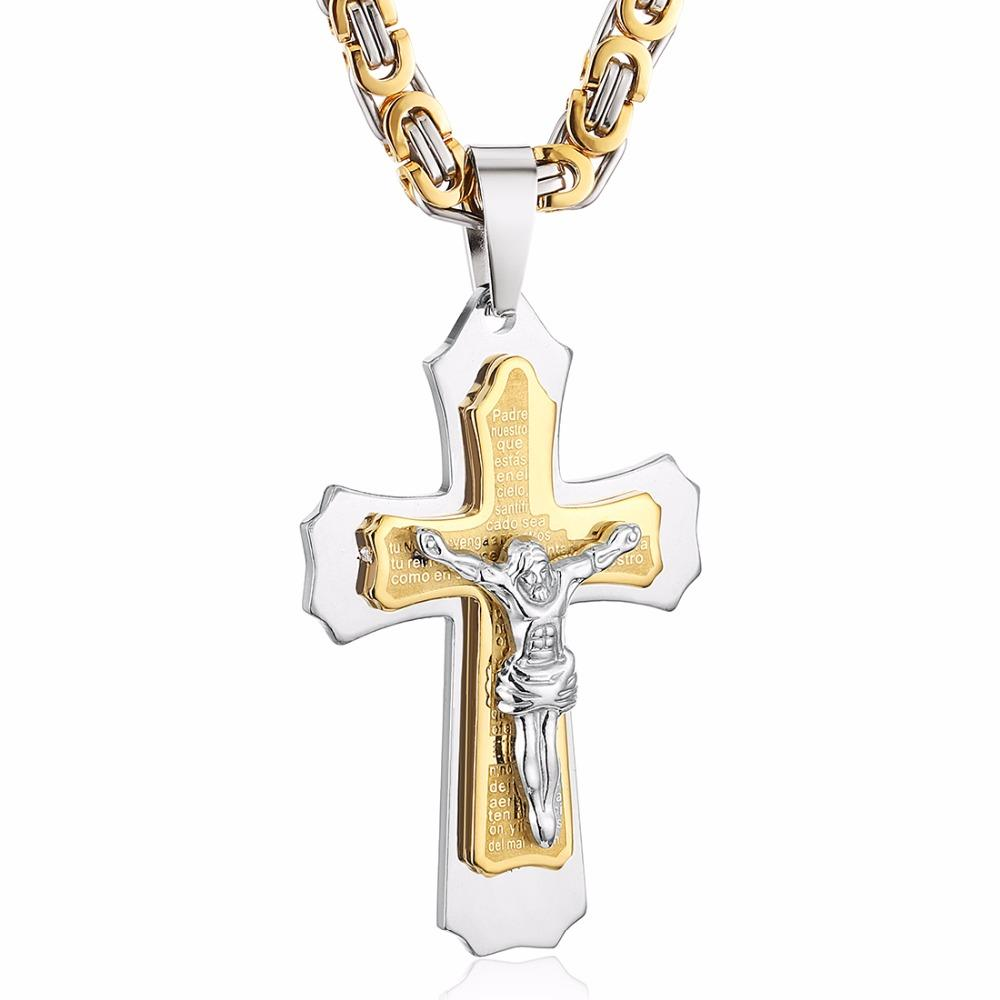 Edelstahl Kreuz Halsketten Anhänger Gold Schwarz Ton Fleur-de-lis Kreuz Anhänger Halskette Lange Byzantinische Kette Männer Schmuck