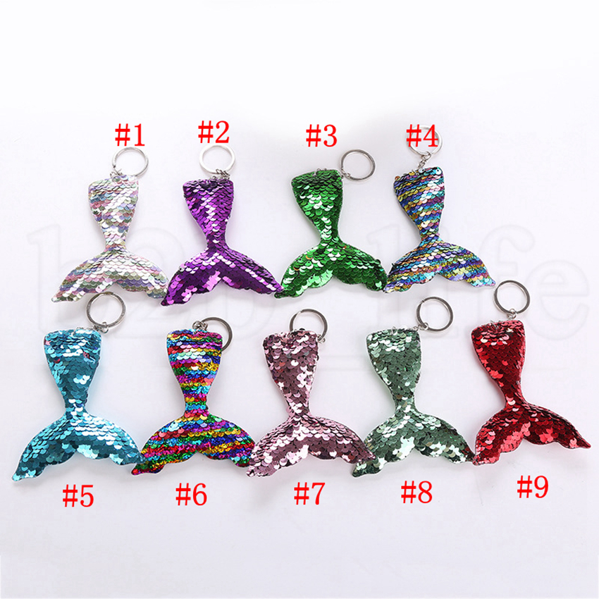 Sequins Mermaid Keychain 13*8cm 9 Styles DIY Mermaid Tail Pendant Colorful Keychain Jewelry Handbag Accessories OOA5809