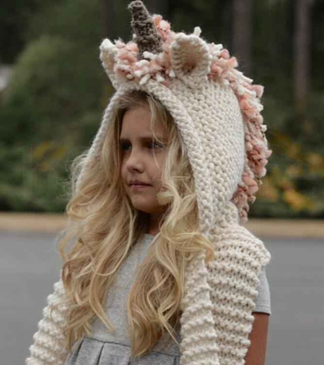 Girls Unicorn Scarf Winter Hat Wrap Unicorn Caps Cute Autumn Warm Children Wool Knitted Hooded Scarf 3-10 Years KKA6023