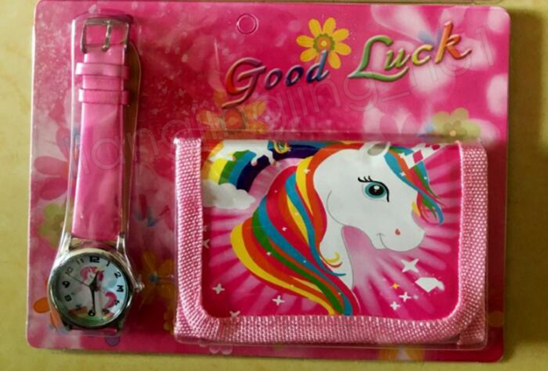 2 unids / lote Monederos Unicornio + Reloj Set Niñas Billetera Bolsas de Bolsillo Bolsillo Rosa Rosa Organizador de Almacenamiento de Papelería de Dibujos Animados para Niños Monedero GGA1209