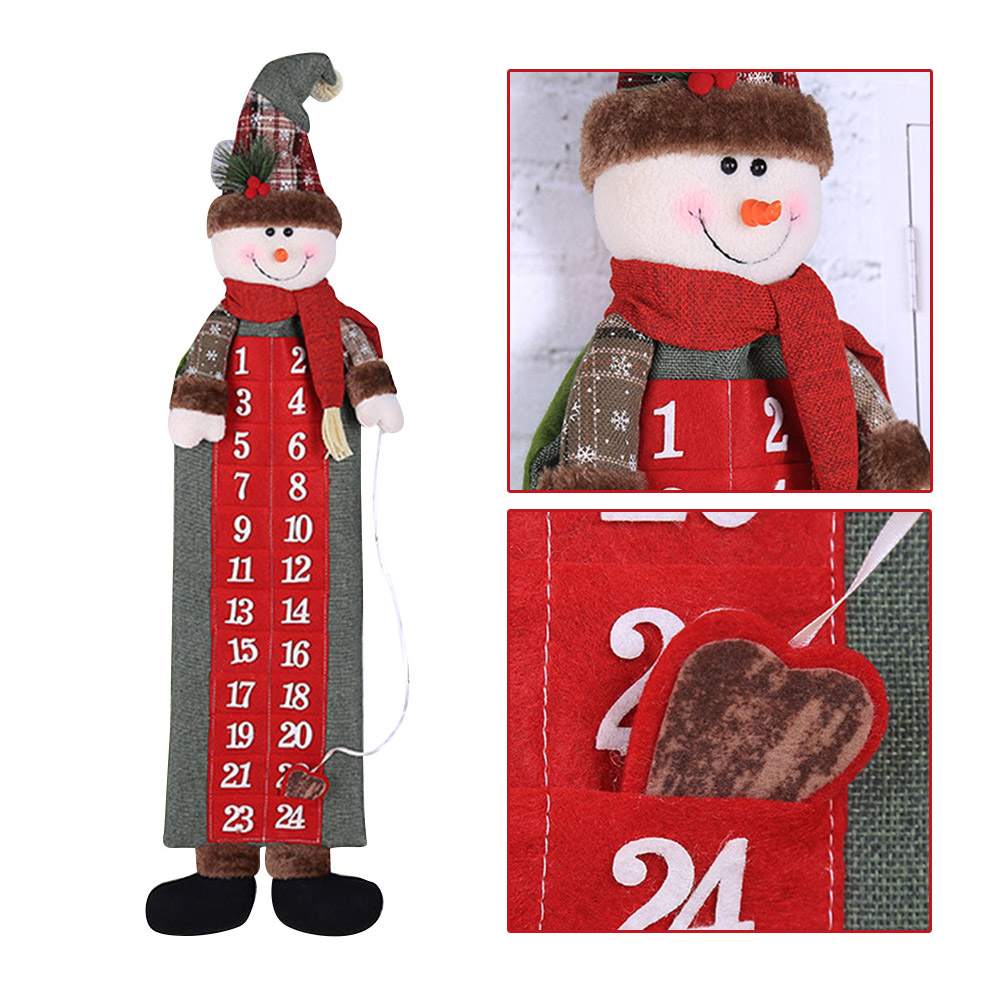 90*23cm Christmas Advent Calendar Santa Claus Snowman Xmas New Year Countdown Hanging Ornaments Home Office Door Decoration