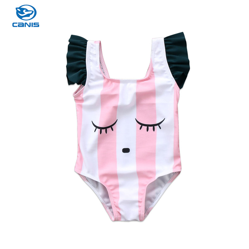 Newborn Toddler Girls One-Piece Swimsuits Ice Cream Print Hollow Out Backless Bathing Suits Kids Beachwear Swimwear