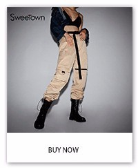 Sweetown Plus Size Feminino Cargo Pants Khaki Street Style Womens Joggers Sweatpants Casual Loose High Waist Trousers Women Pant