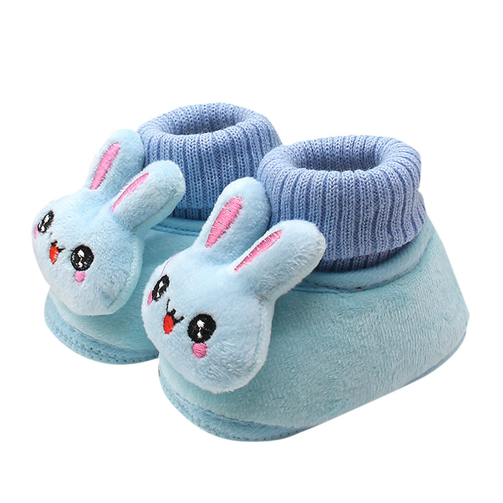 Winter Cute Rabbit Anima Style Baby Boots Fleece Worm Cotton-padded Booties Wholesale 0-18 Month Infant Soft Soled Leather Toddler Shoes