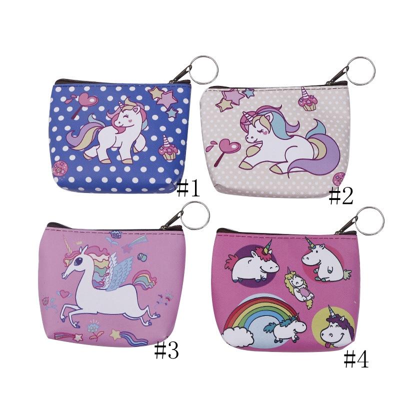 Unicorn purse Small Pocket Girls Women Wallet PU Zipper Purses Bags Cartoon Stationery Storage Organizer Bag Kids Gift GGA1210