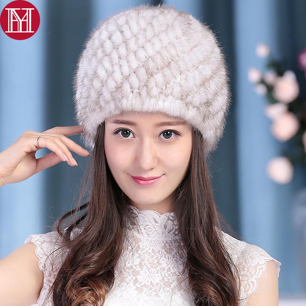 Mejor Regalo tejido de piel de visón real Sombrero Gorra de invierno cálido de Dama mujer de excelente