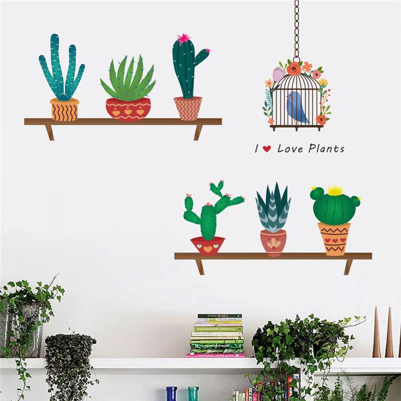 Creative Bonsai Cactus Wall Stickers Livingroom Decorations Kids Room Decals Bedroom plant Mural Art Furniture Decor Diy Postershaif