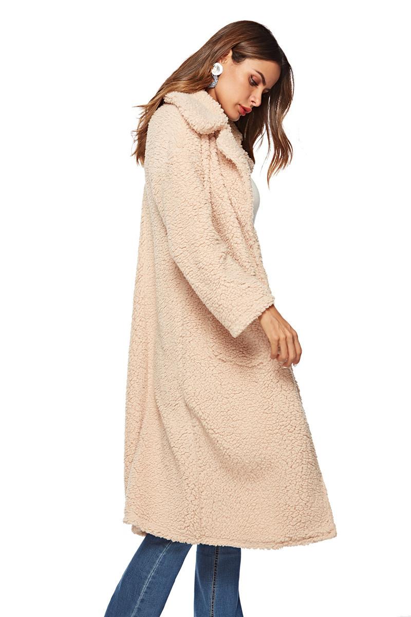 faux lambswool women long section coat outerwear-5