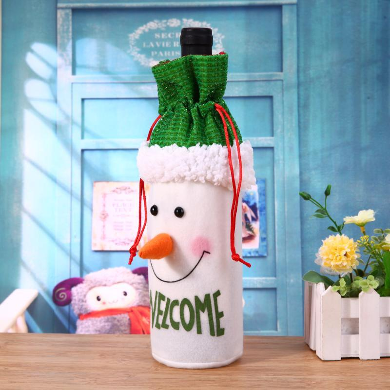 Christmas Wine Bottle Cover Pouch Bag Set Xmas Santa Table Decoration Navidad Party Gift Christmas Decoration For Home Party Y18102609