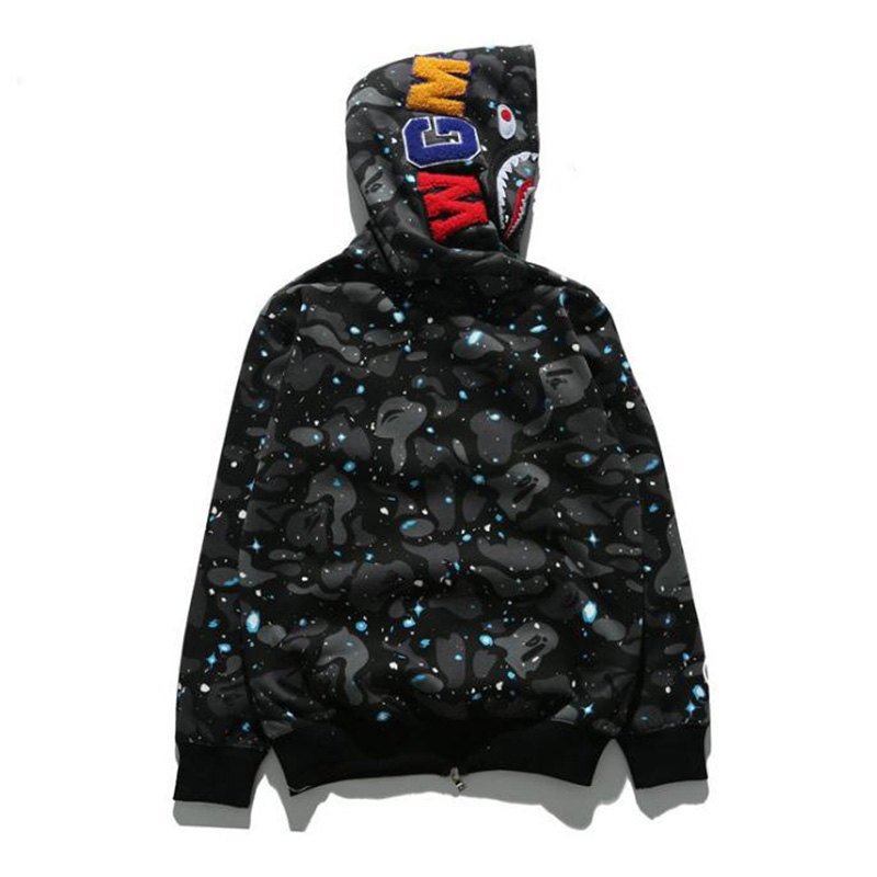 2018 Hooded Sweater Street Hip Hop Night Light Camouflage Hoodie Sweater NEW Tide Brand Shark Head Spot Starry Coat Couple New Arrivals