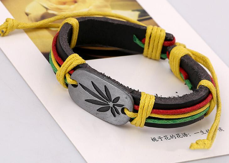 Bob Marley Bracelets En Cuir Hommes Légende Jamaïque Bracelets Punk Cool Bracelets En Gros HOT Bijoux Beaucoup Chanceux Herbe Couleur Bracelet