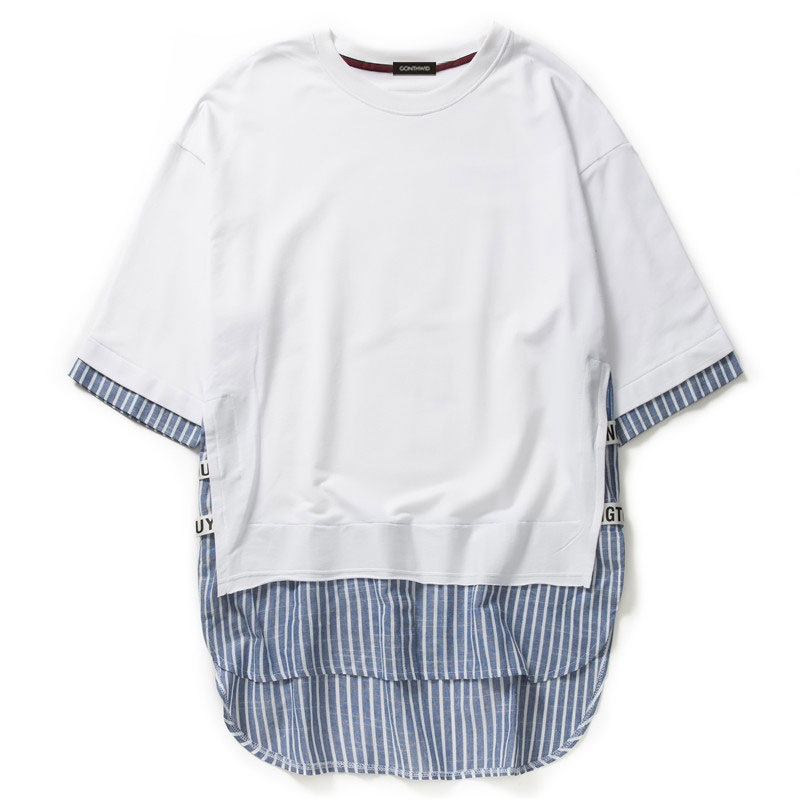 Striped Patchwork Curved Hem Extended T Shirts 7