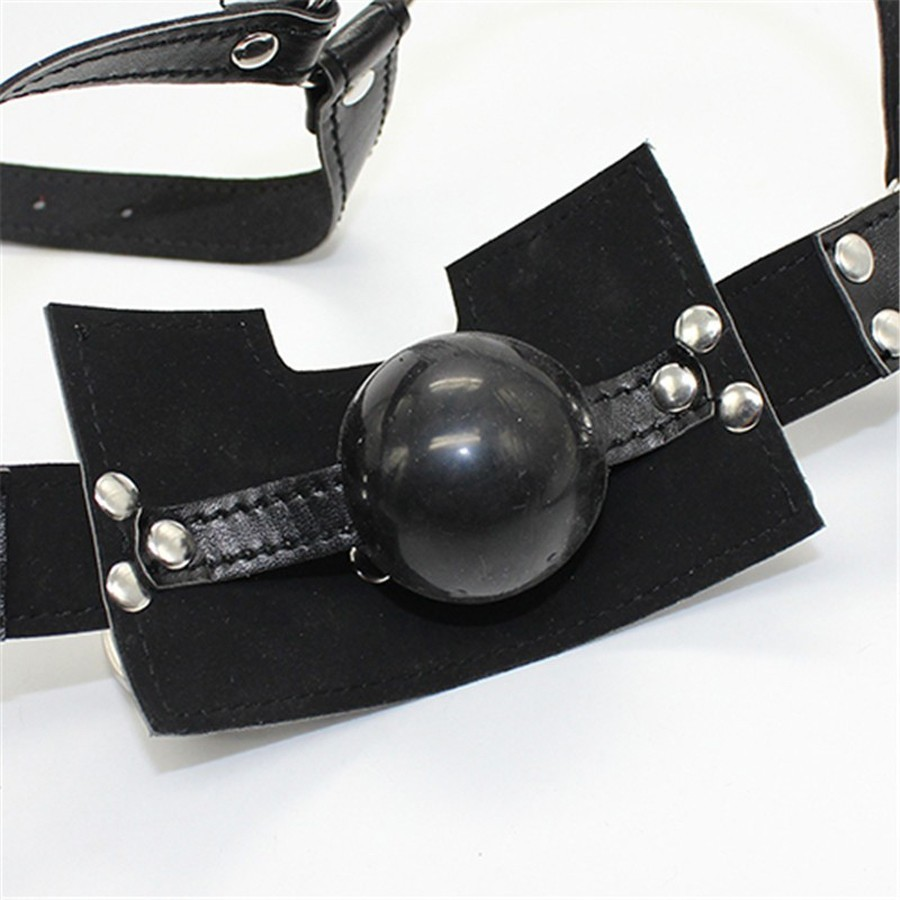 Leather Head Harness With Solid Silicone Ball Gag BDSM Muzzle Bondage Mask With O-ring,Sex Toys For Couple Y18102405