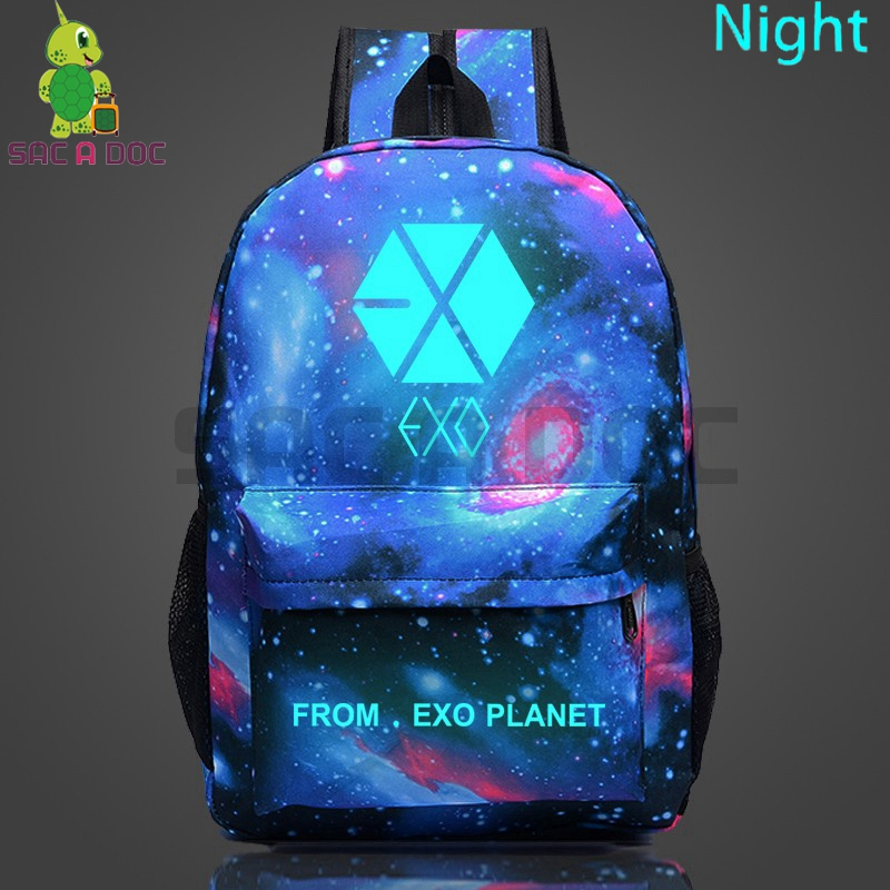Kpop EXO PLANET Galaxy Luminous Backpack for Teenagers Boys Girls Starry Night Laptop Backpack Travel Bags Fans Collection