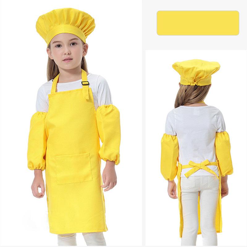 Adorabile 3 pz / set Bambini Cucina Vita i Grembiuli bambini con SleeveChef Cappelli la Cottura Cooking Baking Stampabile LOGO DHL
