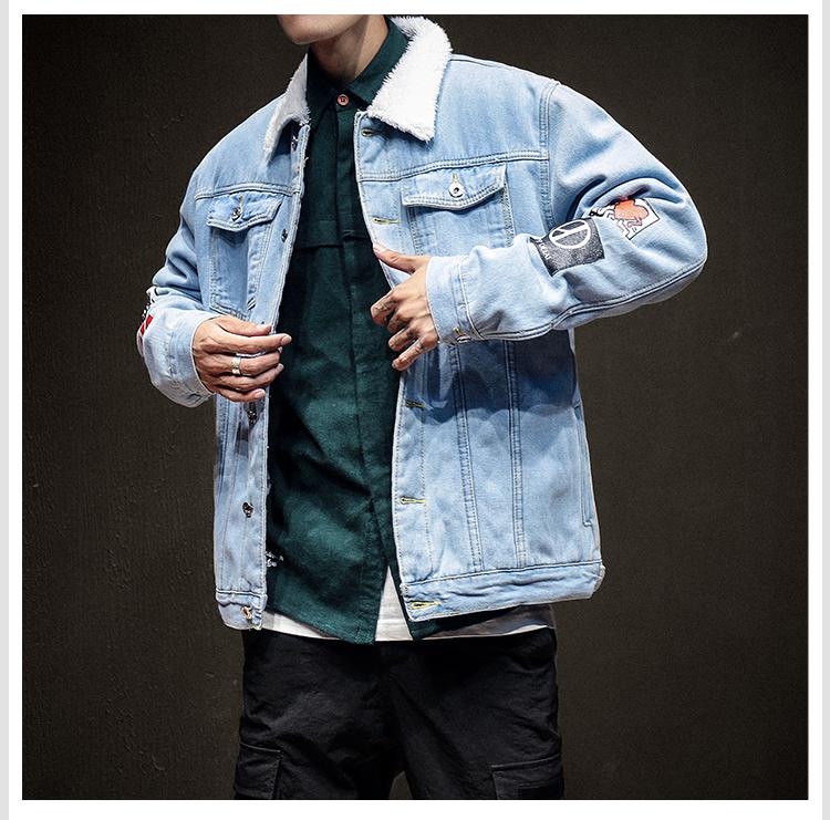 2018 Winter Denim Jacket Mens Cotton Casual Fleece Warm Bomber Jacket Men Jean Jacket Mens Outwear Male Cowboy Plus Size S 6XL S1015 Over Sized Coats