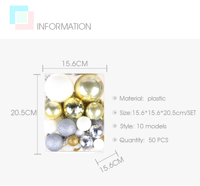 02inhoo 50pcsset White gold balls Christmas Tree Decoration Ball Ornaments Pendant Accessories Decor For Christmas Home Party