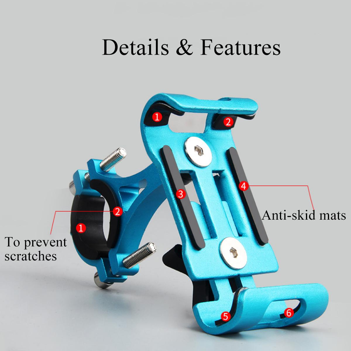 360 Derece Rotasyon Cep Telefonu Montaj Braketi Alüminyum Motosiklet Gidon Klip Standı MTB Bisiklet Ayarlanabilir Telefon Tutucu C18110801