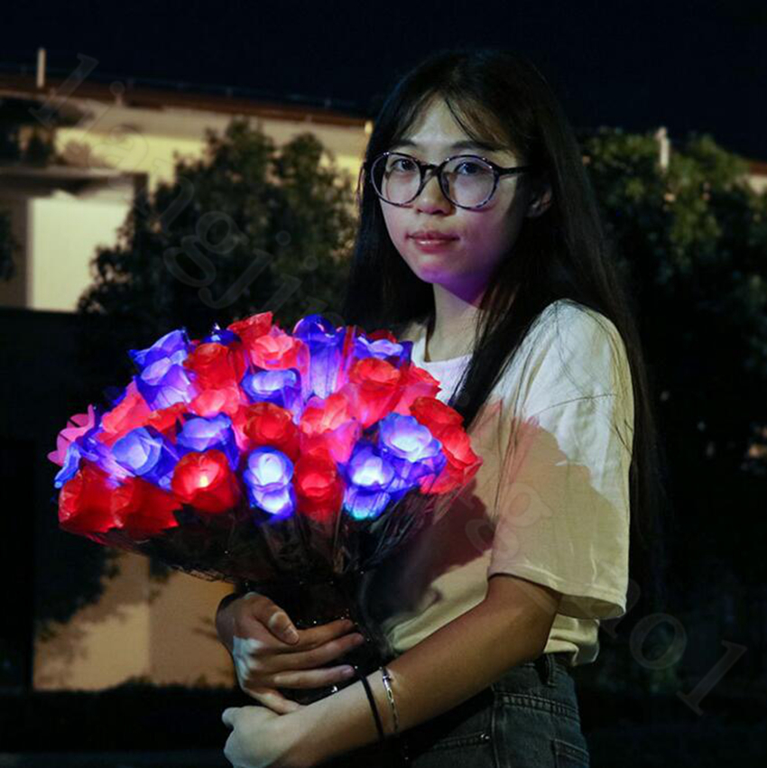 LED Light Up Rose Flower Glowing Valentines Day Wedding Decoration Fake Flowers Party Supplies Decorations OOA5855
