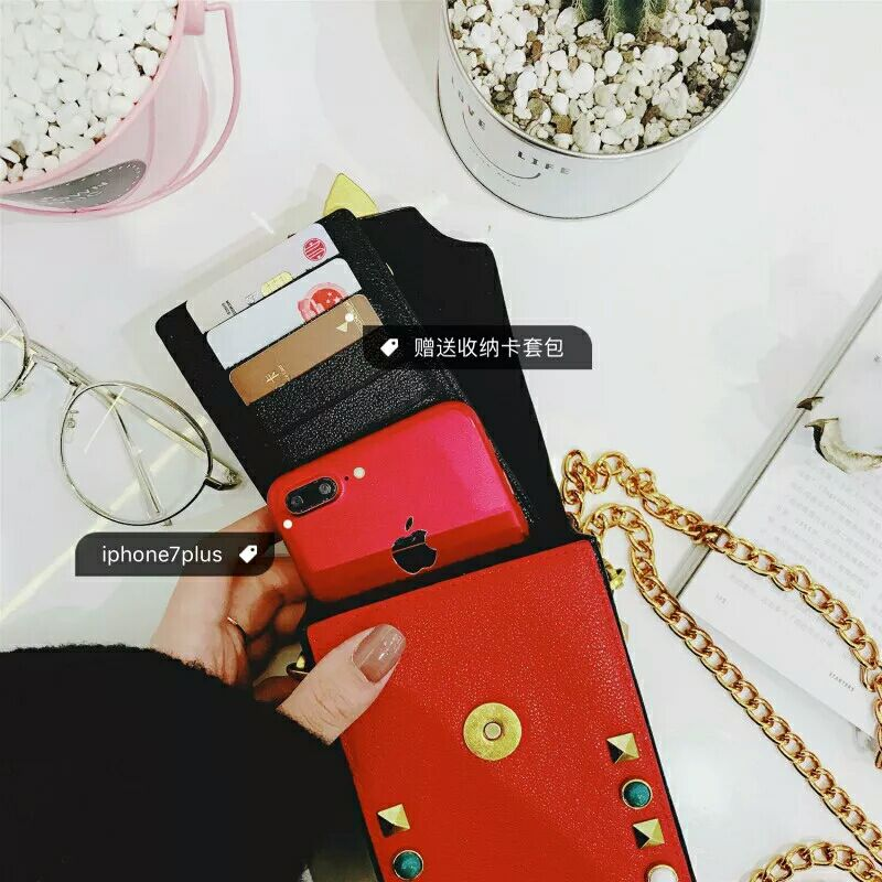 Luxury Leather Wallet Cases For iPhone X XR XS Max 7 8 Plus Rivet Pouches For iPhone 6 6s Plus 5 case women handbags mini bag