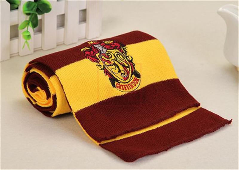 Harry Potter Cachecol da Grifinória Sonserina Escola de Inverno de malha Lenços com emblema neckscarf Cosplay listrado Halloween Xmas Scarf melhor