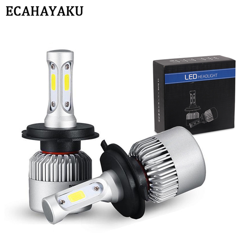 ECAHAYAKU 1 Pair S2 Auto Car H4 H11 H7 H13 9004 9005 9006 LED Headlights 72W 6500K 8000LM COB Auto Led Headlamp 12v 24v