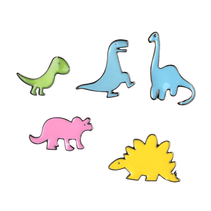 Cute Little Dinosaur Brooch Pins Lovely Jurassic Candy color Enamel Badge Gifts