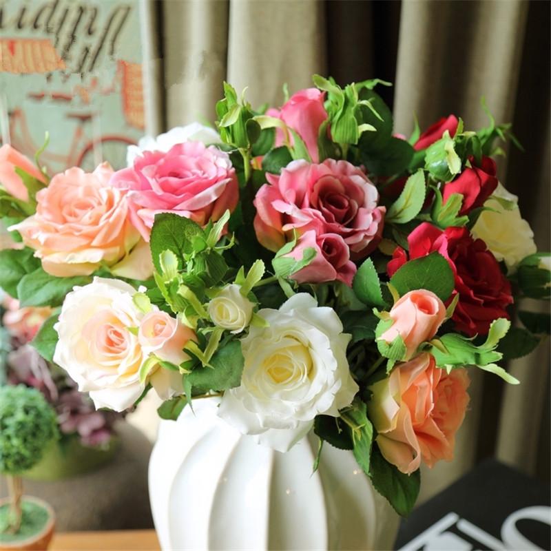 Nuovo stile francese francese Rose Flower Simulazione Fake Flower American Vintage Living Room Decoration Room Garden Hotel