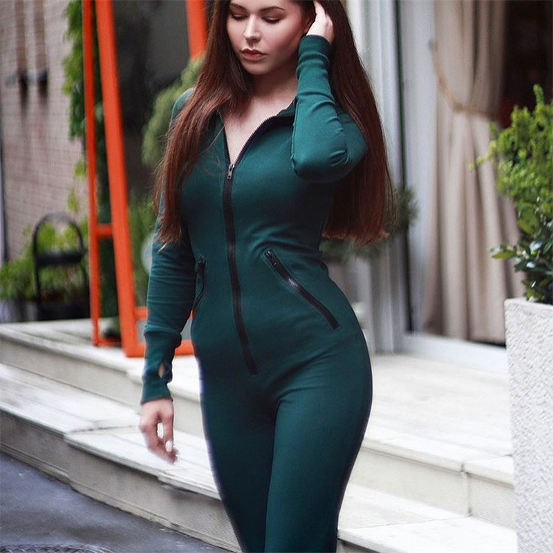Coolred-Women Zipper Fluorescent Stitch Silm Long Sleeve Jumpsuits Rompers