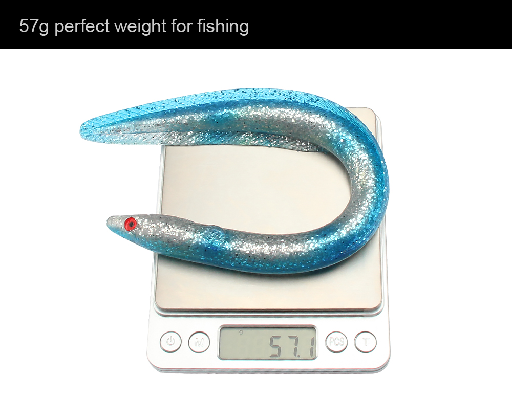 3pcLot Simulation Of Three-Dimensional Eel Lure Soft Baits Sinking Fishing Lure 29.5cm, 57g, 5 Colors Eels For Big Game (5)