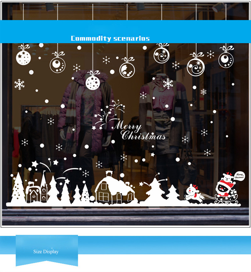 2019 New Year Merry Christmas Decorations for Home Snowflake Hut Wall Sticker Shop Window Glass Decoration Removable PVC Sticker (2)